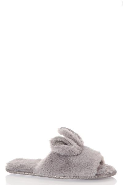 Grey Bunny Slider Slippers